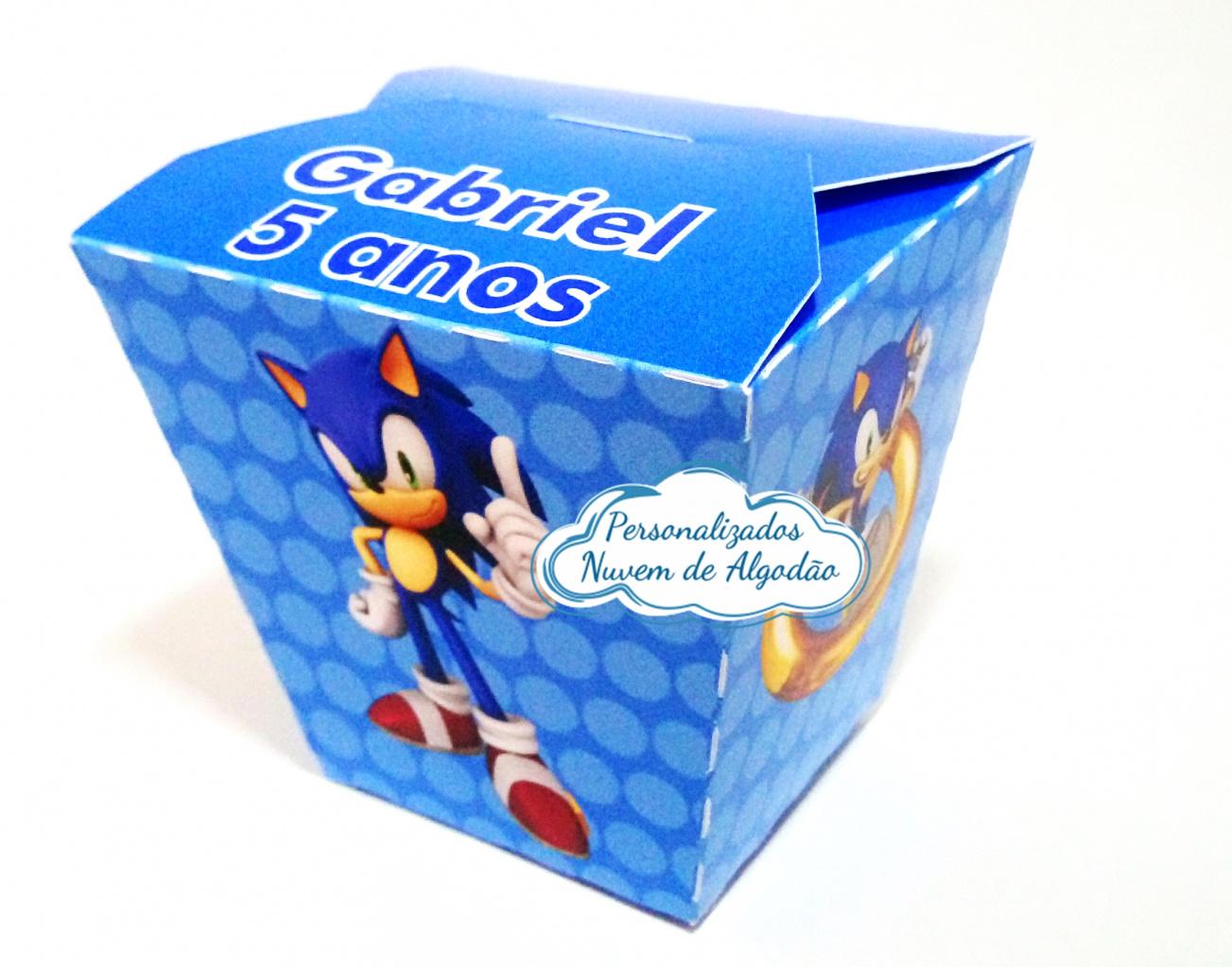 Nuvem de algodão personalizados - Caixa sushi Sonic