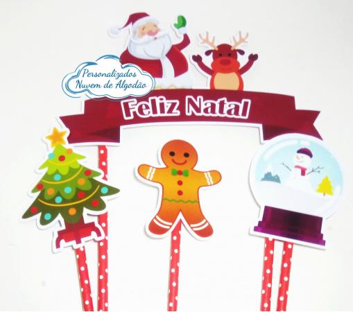 Topo de bolo Natal-Topo de bolo Natal  - Papel fotográfico glossy 230g  - Acompanham os palitos