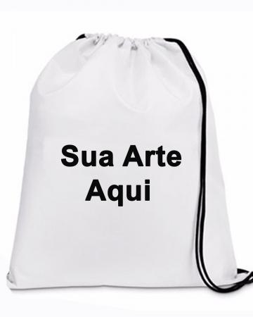 30 Mochila _saco com sua arte ou logo marca-Mochila saco personalizada no tamanho: 27x32cm feita com tecido tactel ,oxford . ou Microfibra ambos