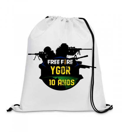 30 Mochila Saco Free Fire-chila saco personalizada no tamanho: 20x30 feita com tecido tactel ,oxford . ou Microfibra ambos de