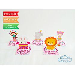 Aplique 3d de caixinha 5x5 circo rosa - leão