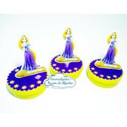 Aplique 3d de latinha 5x5 Rapunzel