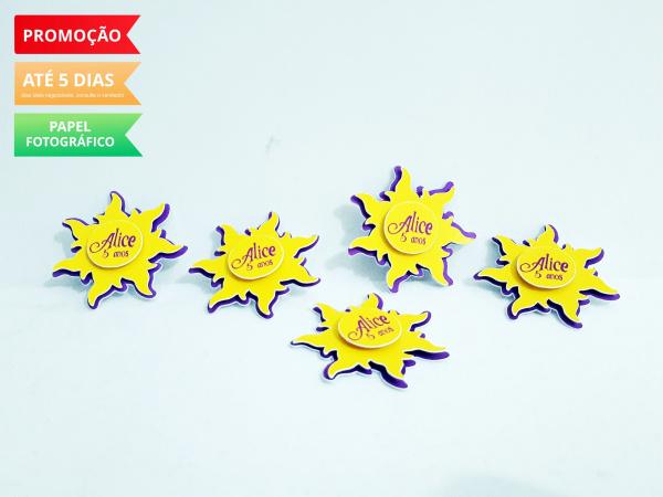 Aplique 3d de latinha 5x5 Rapunzel Sol-Aplique 3d de latinha 5x5 Rapunzel Sol  Fazemos em qualquer tema. Envie nome e idade para persona