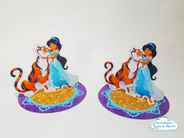 Aplique 3d de latinha 5x5cm Aladdin /Jasmine-Fazemos em qualquer tema. Envie nome e idade para personalização caso deseje.  - Papel fotográ