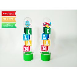 Aplique de tubete Brinquedos - Blocos de letra