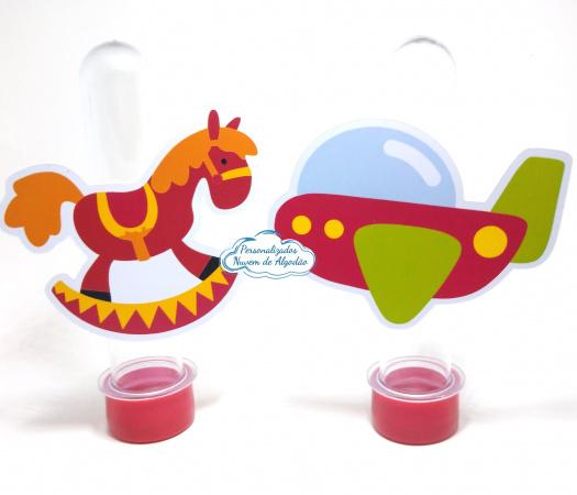 Aplique de tubete Brinquedos - Cavalinho e aviãozinho-Aplique de tubete Brinquedos - Cavalinho e aviãozinho  Fazemos em qualquer tema. Envie nome e id