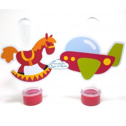 Aplique de tubete Brinquedos - Cavalinho e aviãozinho