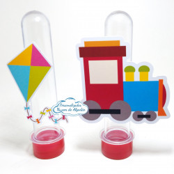 Aplique de tubete Brinquedos - Trenzinho e pipa