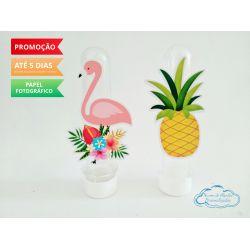 Aplique de tubete Flamingo e abacaxi