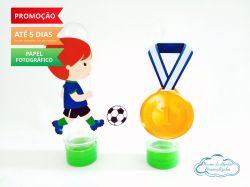 Aplique de tubete Futebol - Jogador e medalha