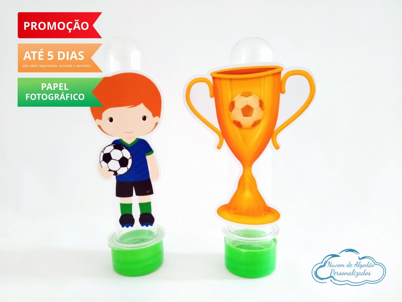 Nuvem de algodão personalizados - Aplique de tubete Futebol - Jogador e taça