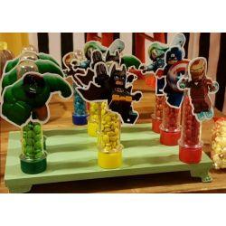 Aplique de tubete Lego heróis