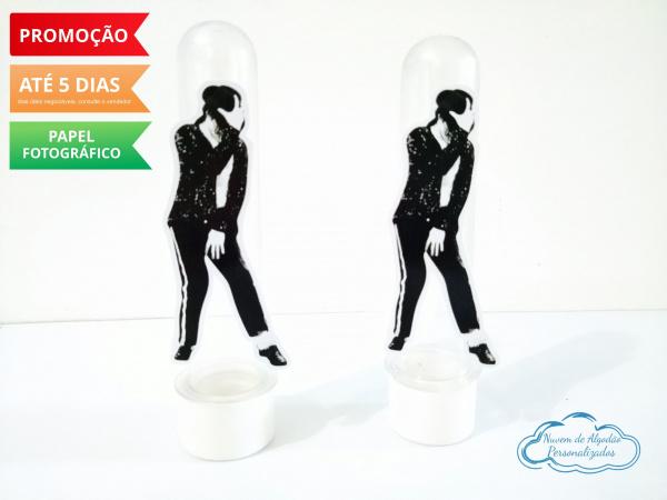 Aplique de tubete Michael Jackson - Preto e branco-Aplique de tubete Michael Jackson - Preto e branco  Fazemos em qualquer tema. Envie nome e idade