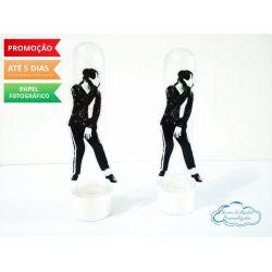 Aplique de tubete Michael Jackson - Preto e branco