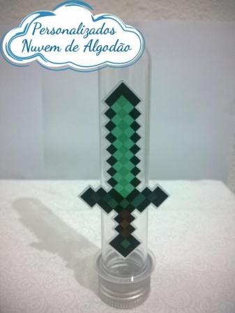 Aplique de tubete Minecraft - Espada-Aplique de tubete Minecraft - Espada  Fazemos em qualquer tema. Envie nome e idade para personali