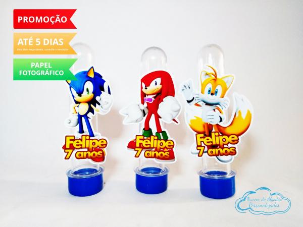 Aplique de tubete Sonic-Aplique de tubete Sonic  Fazemos em qualquer tema. Envie nome e idade para personalização e dat