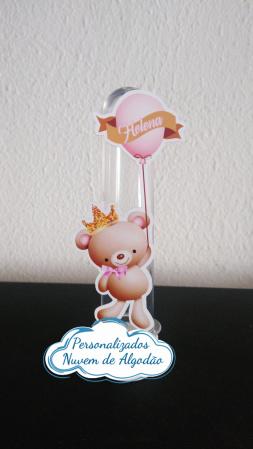 Aplique de tubete Ursinha Princesa balão-Aplique de tubete Ursinha Princesa balão  Fazemos em qualquer tema. Envie nome e idade para pers
