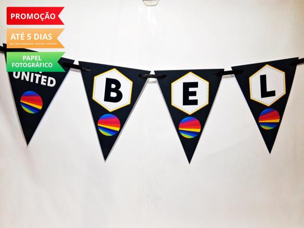 Bandeirola Now united-Fazemos todos os temas  Valor referente a cada letra.   Na hora do seu pedido informe os dados pa
