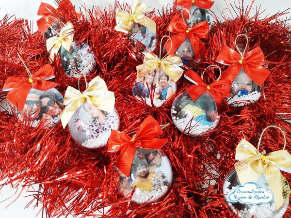 Bolinha de Natal com laço-Bolinha de Natal com laço  Bola de Natal personalizada bola 6/6,5cm  Imagem frente e verso. E