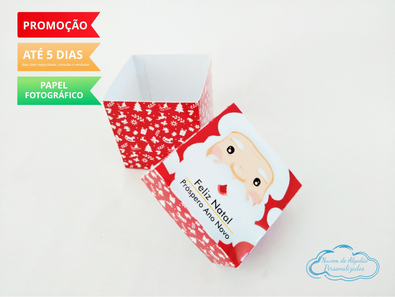 Nuvem de algodão personalizados - Caixa 5x5 Natal - Papai Noel