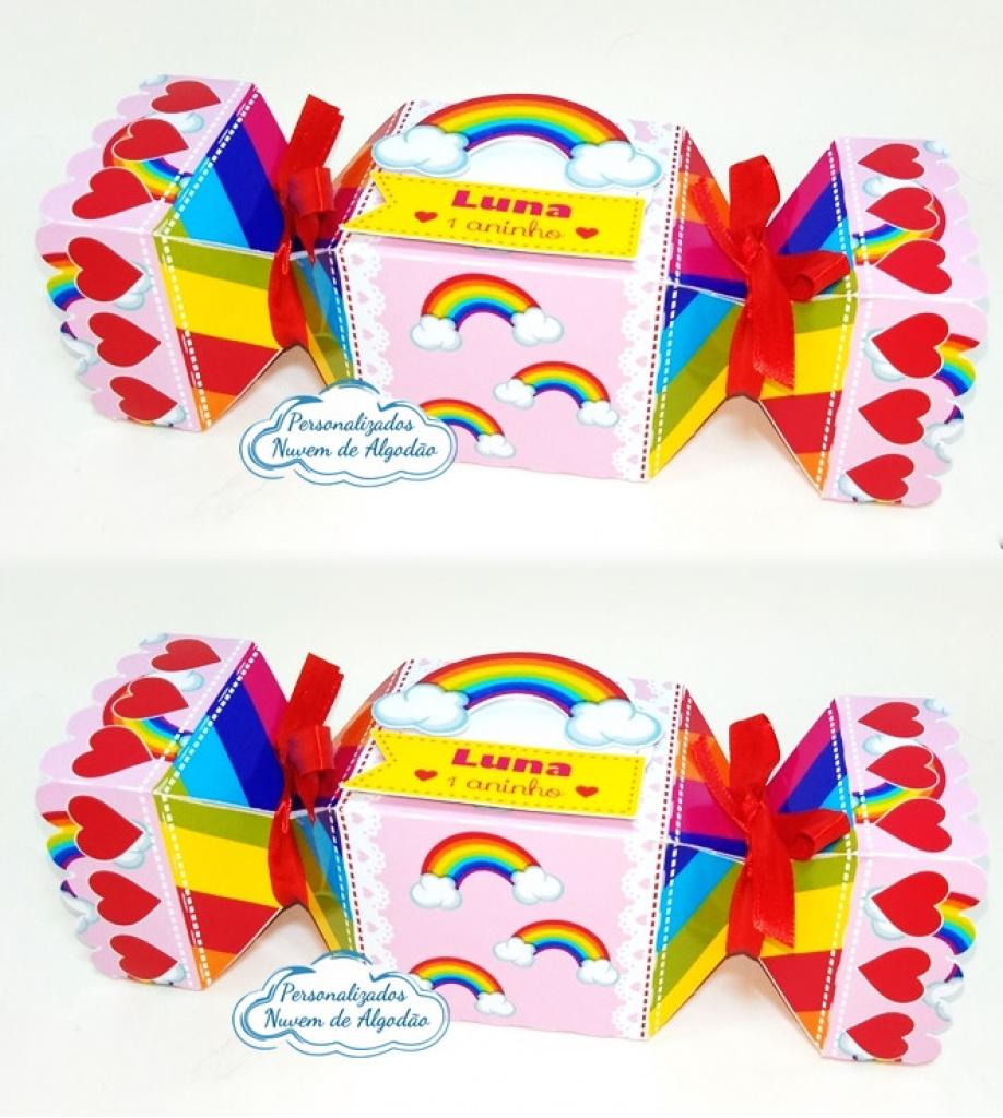 Nuvem de algodão personalizados - Caixa bala inteira Arco íris
