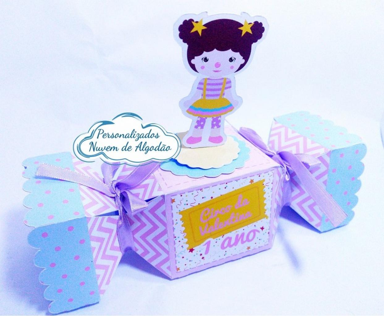 Nuvem de algodão personalizados - Caixa bala inteira Circo Rosa