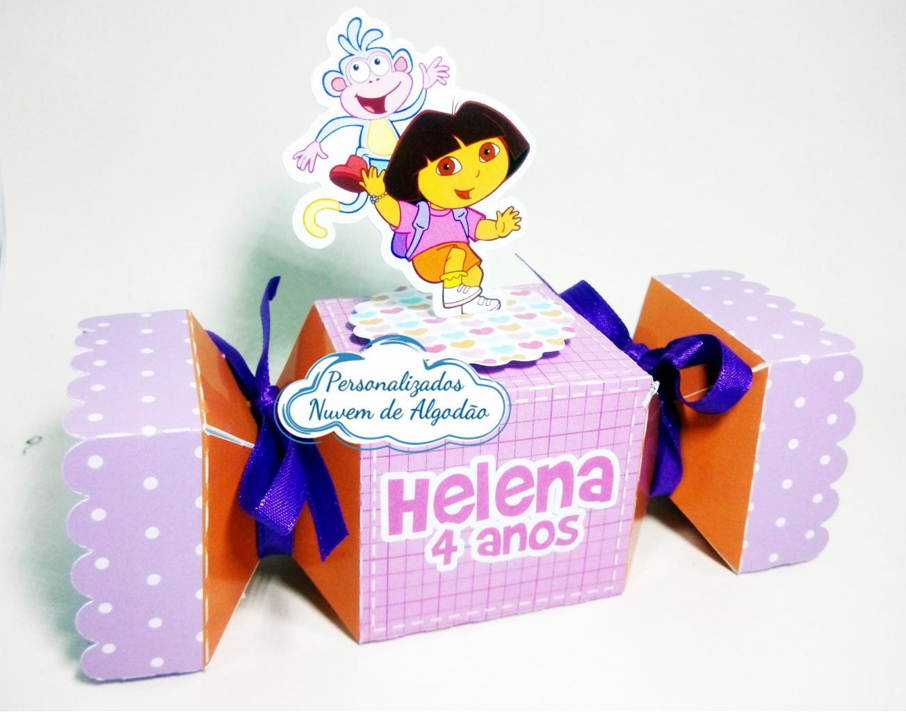 Nuvem de algodão personalizados - Caixa bala inteira Dora Aventureira