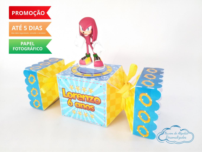 Nuvem de algodão personalizados - Caixa bala inteira Sonic - Knuckels