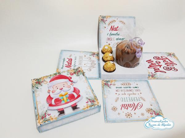 Caixa explosão Natal-Caixa explosão Natal   Caixa para mini panetone 80g e 3 docinhos/bombons   - Todo feito em pape