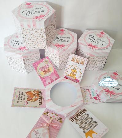 Caixa explosão para mini bolo 10cm Dia das mães-Caixa explosão para mini bolo de 10cm Dia das mães  - Feita em papel fotográfico fosco 230g -