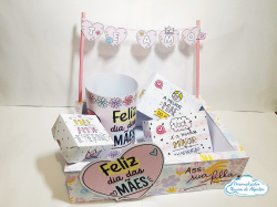 Caixa Kit Festa Dia das mães-Caixa Kit Festa Dia das mães  Kit Contém: 1 caixa externa 27x19,5x6,8 1 bandeirinha escrito te