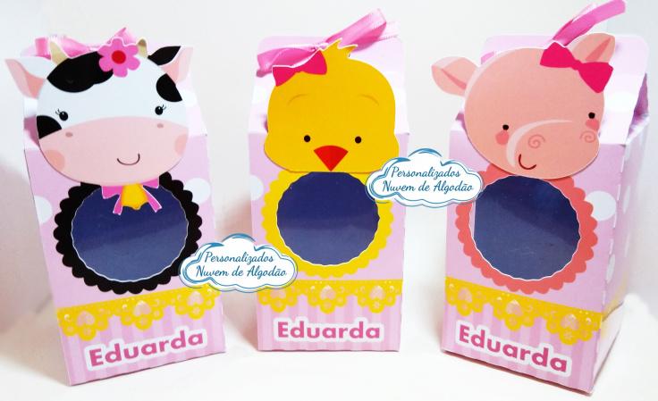 Caixa milk  Animais da fazendinha-Caixa milk Animais da fazendinha com visor e aplique Fazemos em qualquer tema. Envie nome e idade