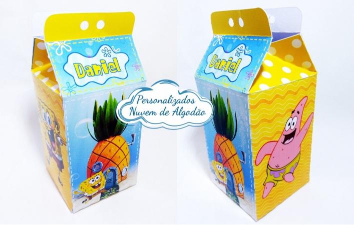 Caixa milk Bob Esponja-Caixa milk Bob Esponja Fazemos em qualquer tema. Envie nome e idade para personalização.  - Pr