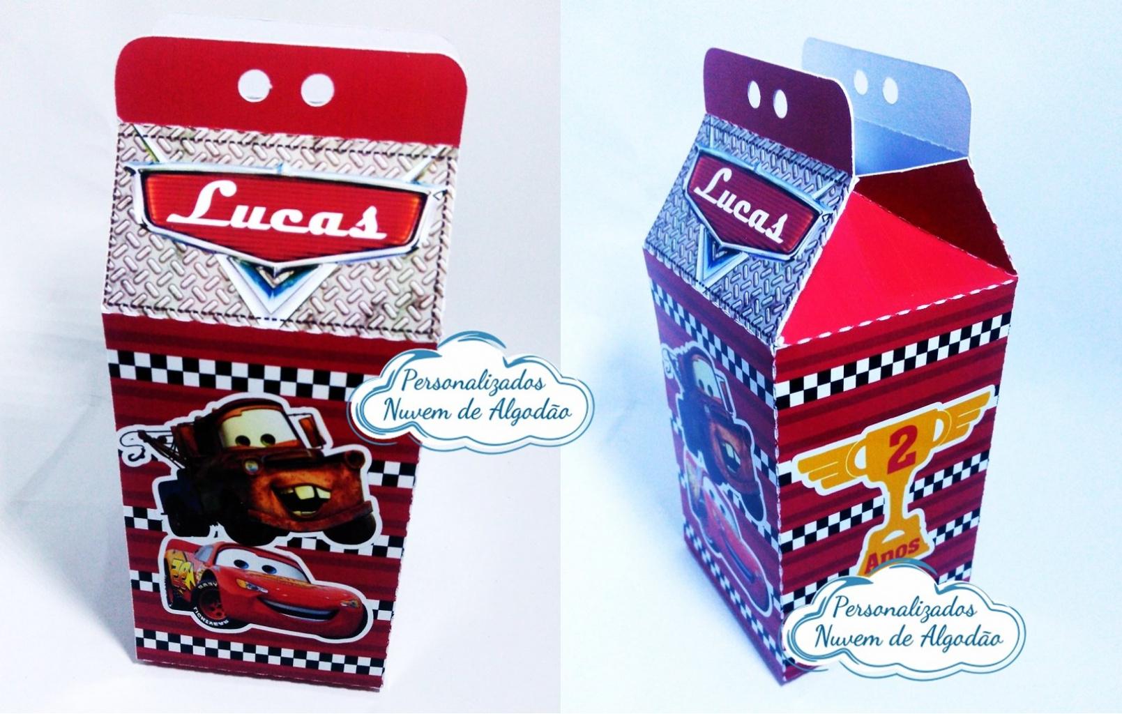 Nuvem de algodão personalizados - Caixa milk Carros
