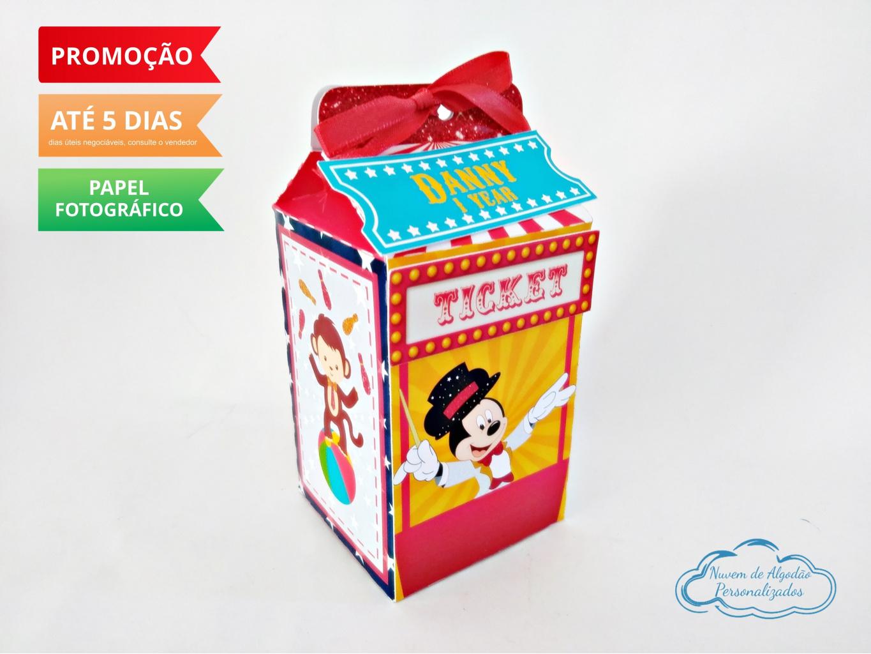 Nuvem de algodão personalizados - Caixa milk Circo do Mickey Magico