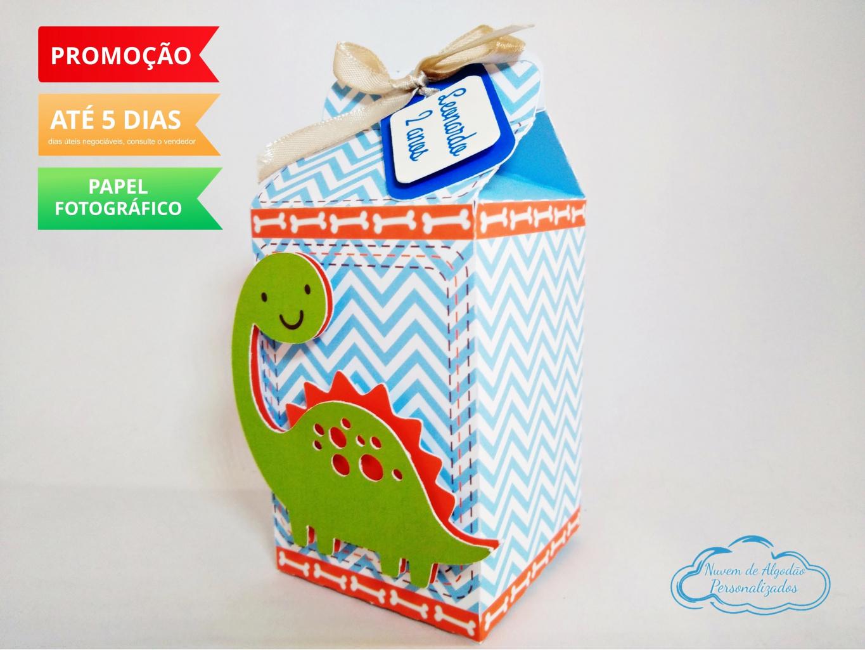 Nuvem de algodão personalizados - Caixa milk Dinossauro
