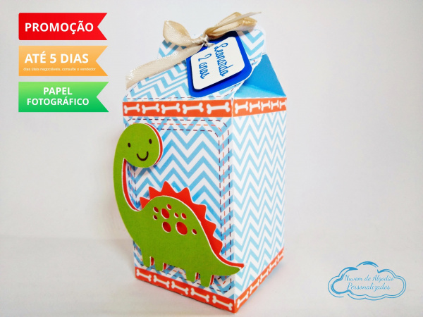Caixa milk Dinossauro-Caixa milk Dinossauro   Fazemos em qualquer tema. Envie nome e idade para personalização.  - P