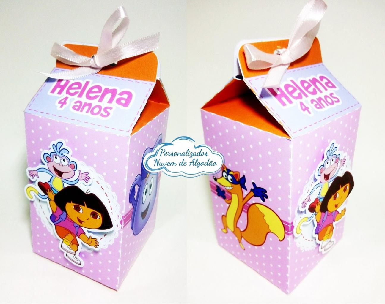 Nuvem de algodão personalizados - Caixa milk Dora aventureira