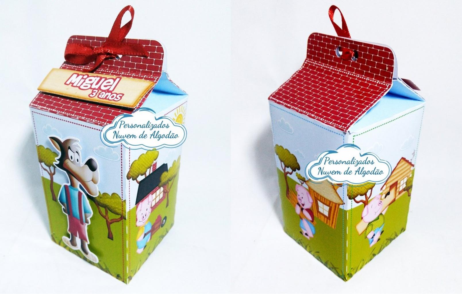 Nuvem de algodão personalizados - Caixa milk Os 3 porquinhos