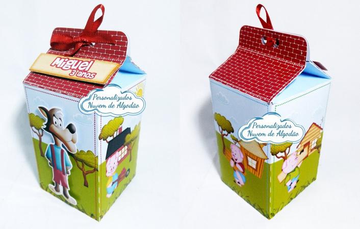 Caixa milk Os 3 porquinhos-Caixa milk Os 3 porquinhos Fazemos em qualquer tema. Envie nome e idade para personalização.