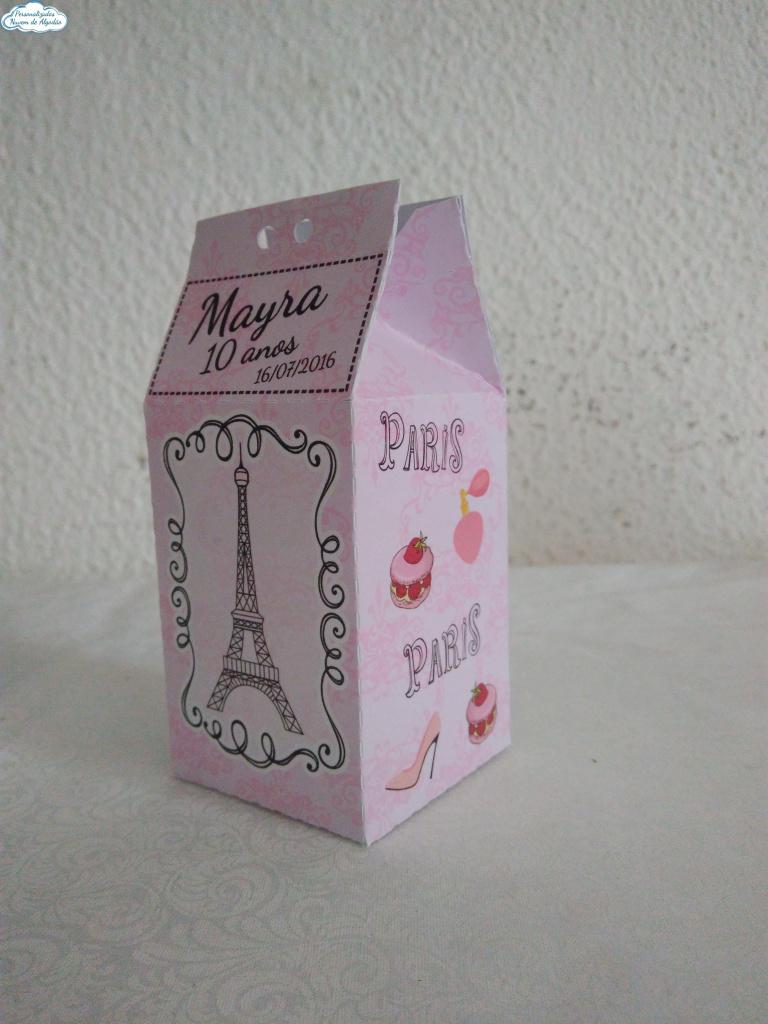Nuvem de algodão personalizados - Caixa milk Paris Rosa