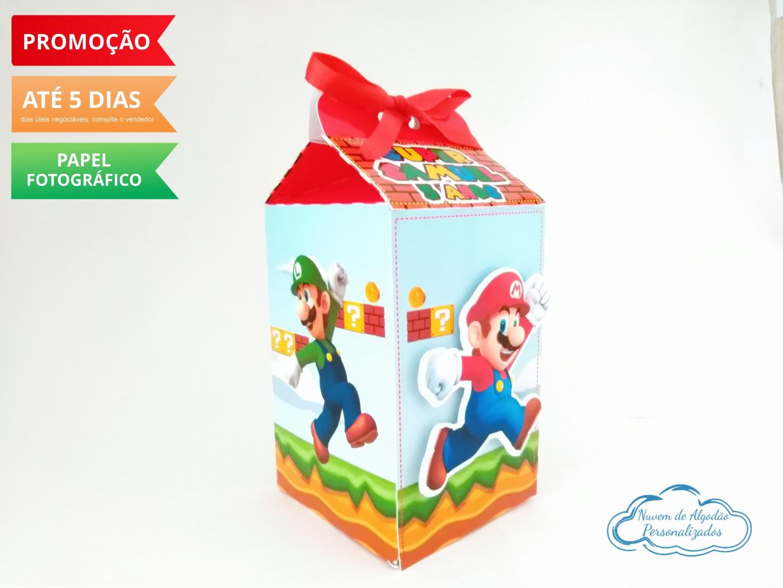 Nuvem de algodão personalizados - Caixa milk Super Mario Luigi