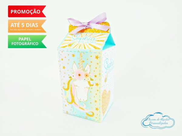 Caixa milk Unicórnio dourado-Caixa milk Unicórnio dourado  Fazemos em qualquer tema. Envie nome e idade para personalização.