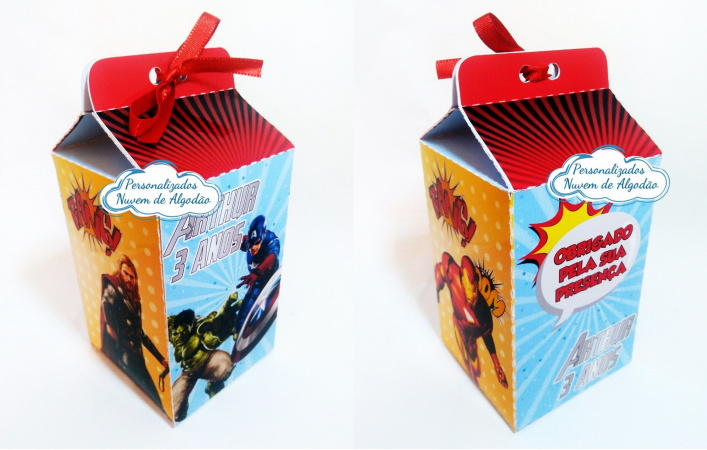 Caixa milk Vingadores herois-Caixa milk Vingadores herois  Fazemos em qualquer tema. Envie nome e idade para personalização.