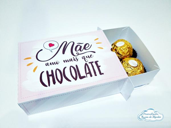 Caixa para 6 docinhos - Dia das mães - Amo mais que chocolate-Caixa para 6 docinhos - Dia das mães - Amo mais que chocolate  - Diversas estampas (consulte-nos)