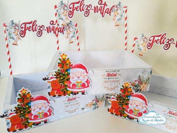 Caixa para kit festa Natal-Caixa para kit festa Natal   - Todo feito em papel fotográfico fosco 230g - Produto vai montado.