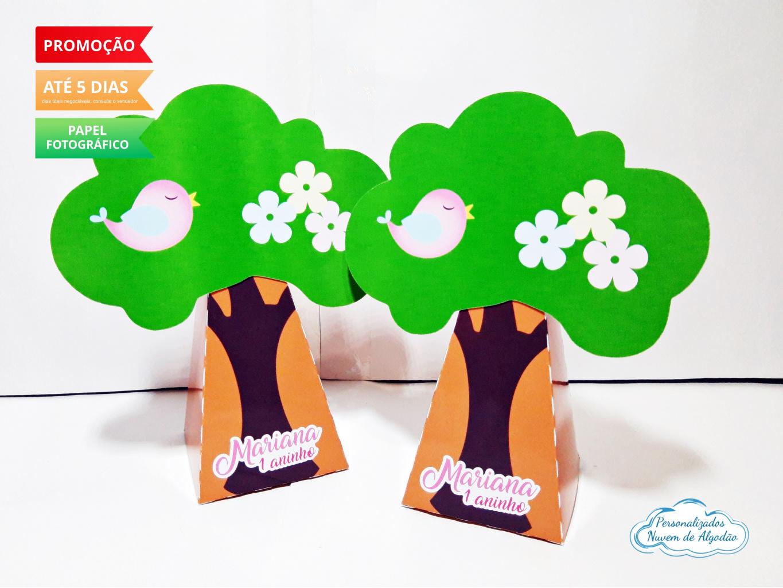 Nuvem de algodão personalizados - Caixa pirâmide árvore Jardim Encantado