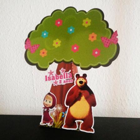 Caixa pirâmide  árvore  Masha e o Urso-Caixa pirâmide  árvore Masha e o Urso com aplique. Fazemos em qualquer tema. Envie nome e idade