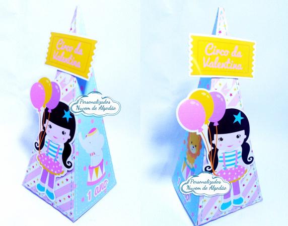 Caixa pirâmide Circo rosa-Caixa pirâmide Circo rosa Fazemos em qualquer tema. Envie nome e idade para personalização.