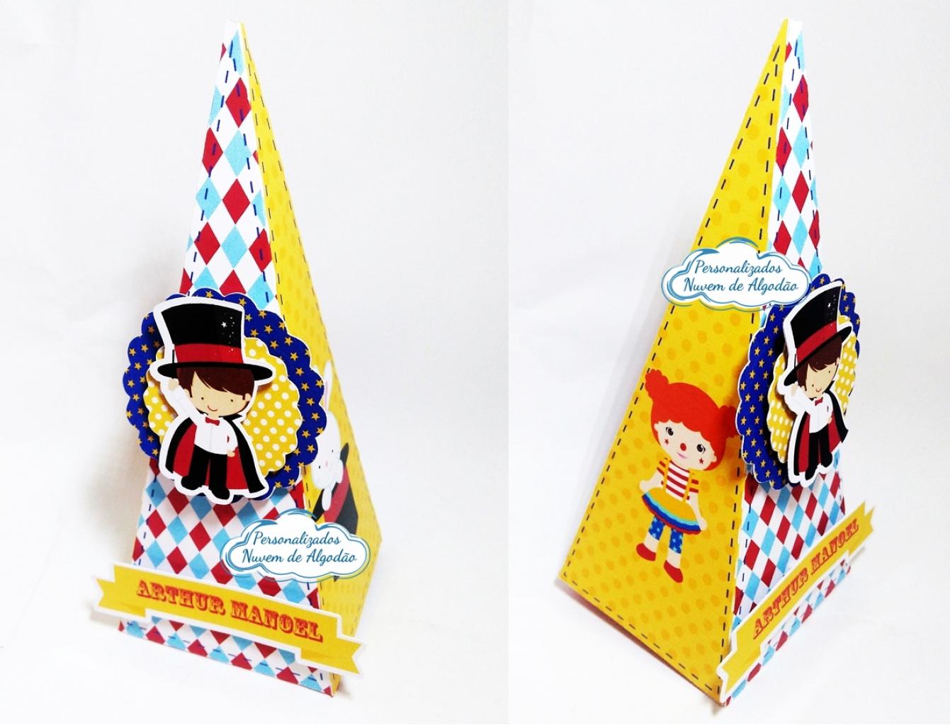 Nuvem de algodão personalizados - Caixa pirâmide Circo